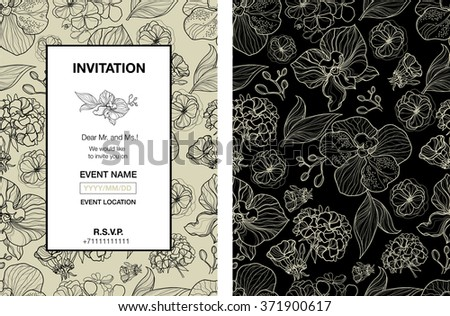 Floral invitation for events design with different flowers - stock photo