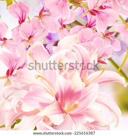 Floral japanese background.Lily - stock photo