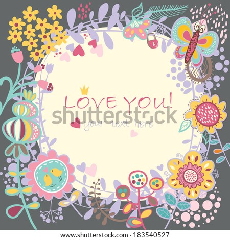 Floral Love background. Raster version. illustration, can be used as creating card, wedding invitation, birthday, valentine's day and other holiday and summer or spring background. - stock photo
