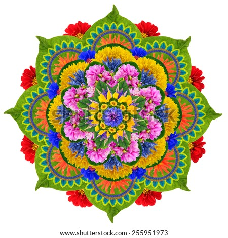 Floral mandala - the Sacred Lotus- made from vivid summer flowers and plants. Isolated handmade abstract collage - stock photo