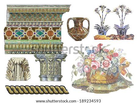 Floral mosaic illustration - stock photo