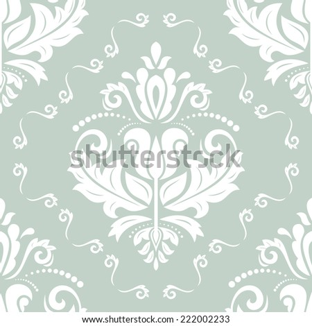 Floral  oriental pattern with damask, arabesque and floral elements. Seamless abstract wallpaper and background - stock photo