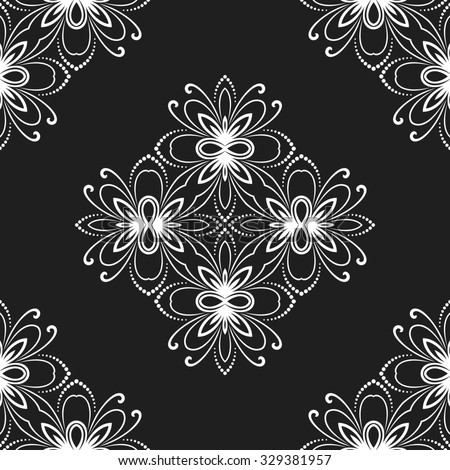 Floral  ornament. Seamless abstract classic fine pattern. Black and white colors - stock photo