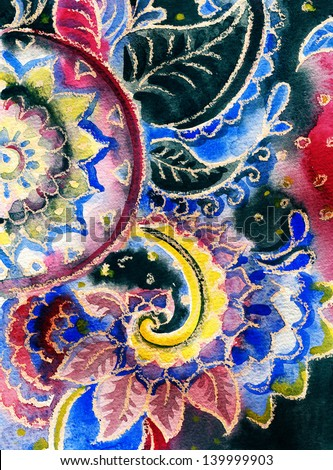 floral ornament . Watercolor painting. - stock photo