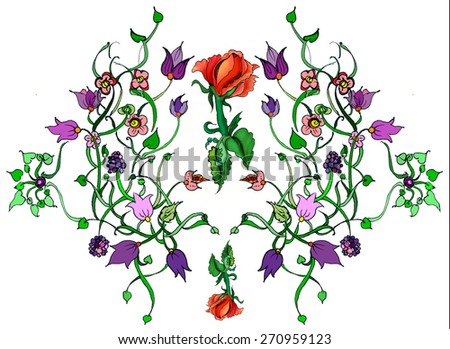 Floral ornament with leaves flowers and berries and roses - stock photo