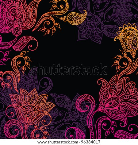 Floral pattern background with indian ornament. Raster version - stock photo