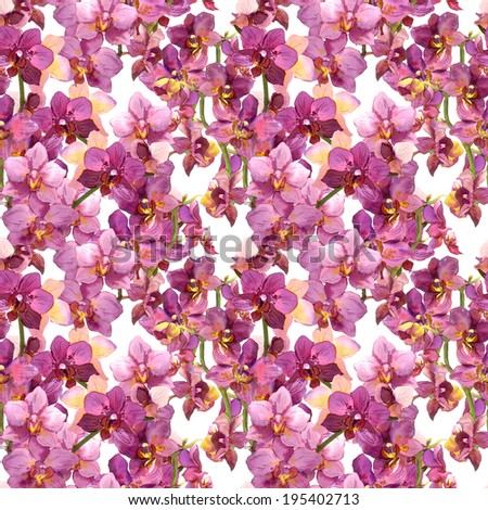 Floral pattern - blooming purple orchid flowers. Seamless background. Watercolor. - stock photo