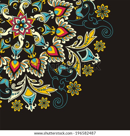 floral pattern in vintage style - stock photo