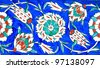 Floral Pattern on Old Turkish Tiles - stock photo