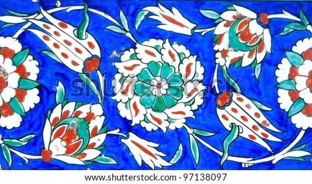 Floral Pattern on Old Turkish Tiles - stock photo