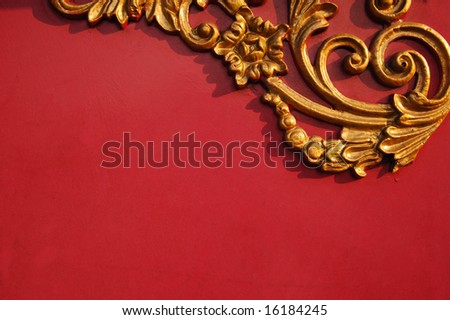 Floral pattern on red background with copy space - stock photo