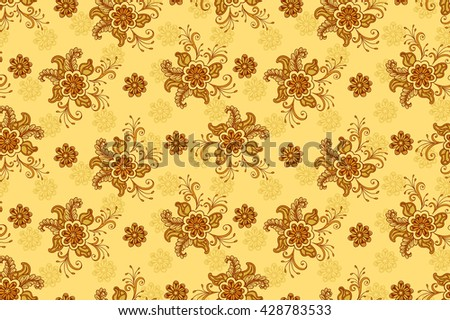 Floral Pattern, Seamless Background, Tile Ornament, Symbolic Flowers and Leafs.  - stock photo