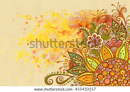 Floral Pattern, Symbolic Flowers and Leafs, Colorful Ornament on Hand-Draw Watercolor Painting Background - stock photo