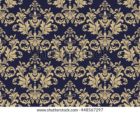 Floral pattern. Wallpaper baroque, damask. Seamless  background. Gold and black blue ornament - stock photo
