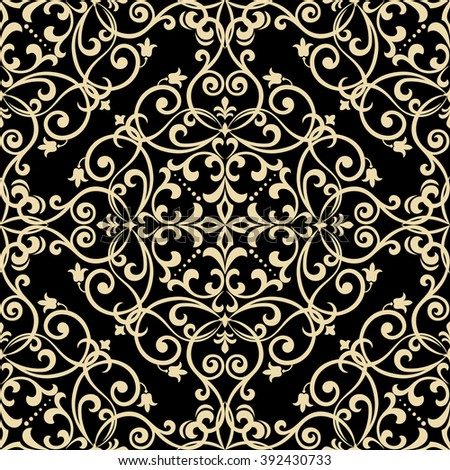 Floral pattern. Wallpaper baroque, damask. Seamless vector background. Gold and black ornament - stock photo