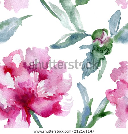 Floral pattern. Watercolor seamless background. Pink peonies - stock photo