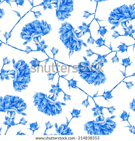 Floral pattern. Watercolor seamless background. White blue roses - stock photo