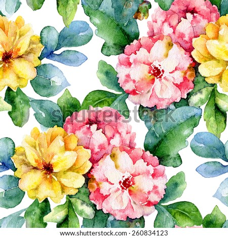 Floral pattern. Watercolor seamless background. Yellow and pink dahlias - stock photo