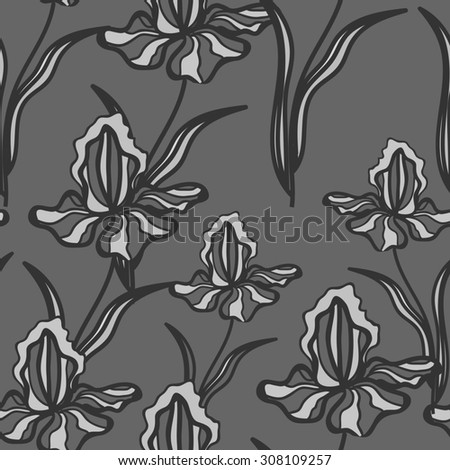 Floral  pattern with iris. Black and white pattern with  linear flowers. Seamless pattern can be used for printing textile, wallpaper , wrapping paper. Linear art. Hand drown texture - stock photo