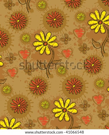 Floral pattern. Yellow flowers, butterfly, heart with drop - stock photo