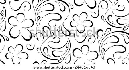 floral seamless background. Black pattern on a white background - stock photo