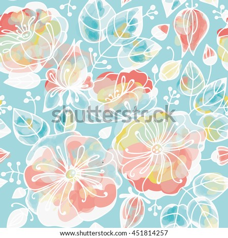 Floral seamless pattern - anemones. Stylized watercolor technique. - stock photo