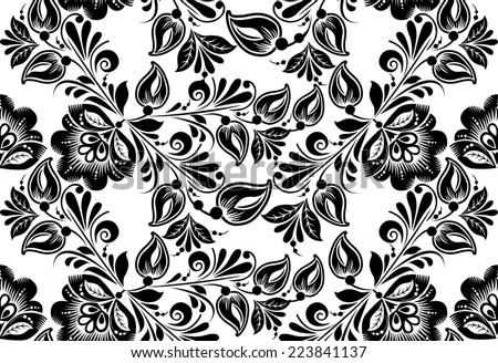 floral seamless pattern. Russian traditional ornament Hohloma. black and white background - stock photo