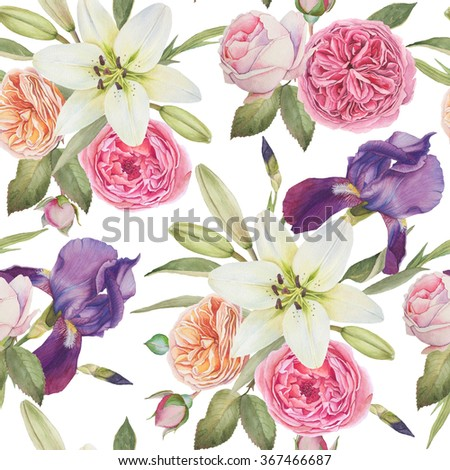 Floral seamless pattern with hand drawn watercolor irises, white lilies and roses - stock photo