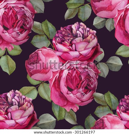 Floral seamless pattern with watercolor pink roses. Background with bouquets of hand drawn watercolor flowers - stock photo