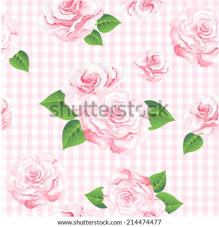 Floral seamless vintage pattern. Shabby chic rose background for you scrapbooking . - stock photo