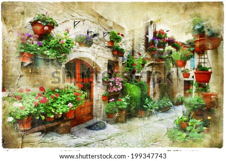 floral streets of Spello, Umbria, Italy. artistic picture - stock photo