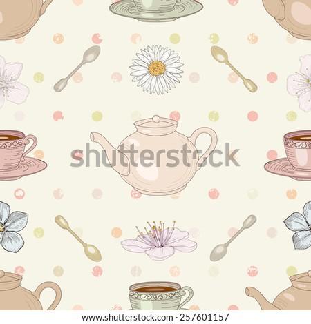 Floral tea cute seamless pattern - stock photo
