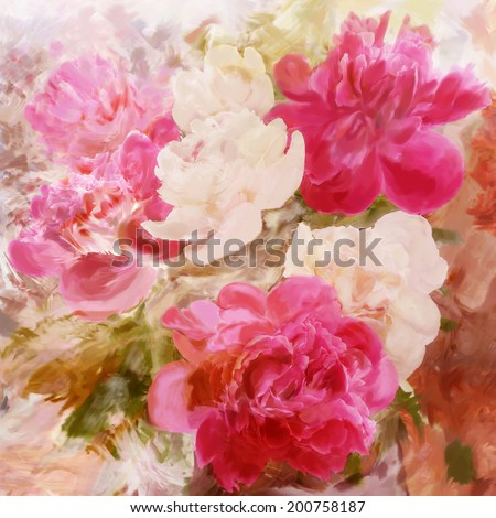 Floral vintage greeting card with bouquet of peony on grunge stained colorful background - stock photo
