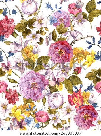Floral Vintage Seamless Watercolor Background, Watercolor illustration. Peonies, Roses, Narcissus, Butterfly, Tulip, Wildflowers - stock photo