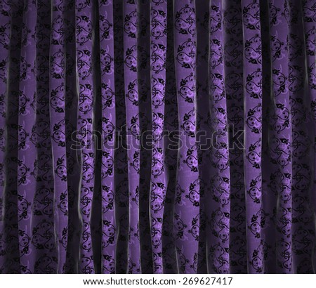 floral vintage theater curtains background - stock photo