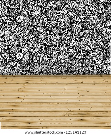 Floral wall and wooden floor interior background - stock photo