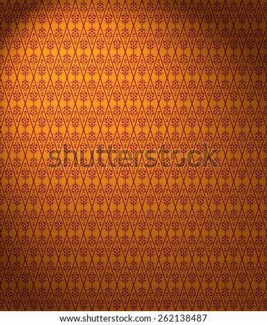 Floral Wallpaper Pattern in orange and brown - stock photo