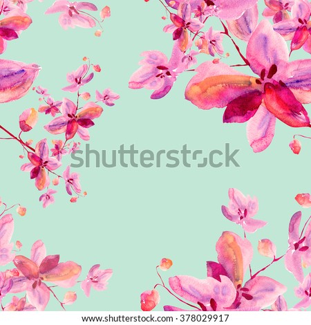 Floral watercolor background blooming orchids - 3 - stock photo