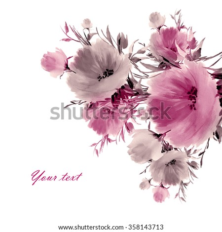 Floral watercolor spring flowers-2. Beautiful floral background of watercolor sketches for the design and decoration. - stock photo