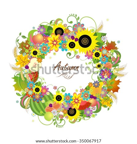 Floral wreath with fruits, wheat and sunflowers - stock photo