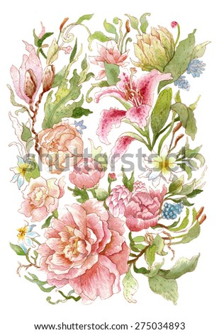 Floral wreath with watercolor peonies, roses, lilies. Isolated on white background. Illustration for greeting cards, invitations, and other printing projects. - stock photo