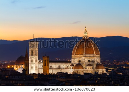 Florence Cathdral at twilligt, Tuscany, Italy - stock photo