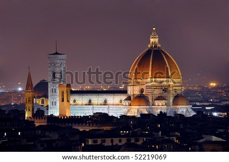 Florence cathedral by night - stock photo