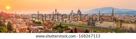 Florence city during sunset. Panoramic view to the river Arno, with Ponte Vecchio, Palazzo Vecchio and Cathedral of Santa Maria del Fiore (Duomo), Florence, Italy - stock photo