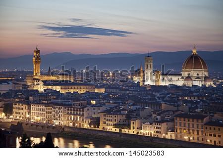 Florence cityscape with Duomo Santa Maria Del Fiore and Piazza Della Signoria from Piazzale Michelangelo, Italy  - stock photo