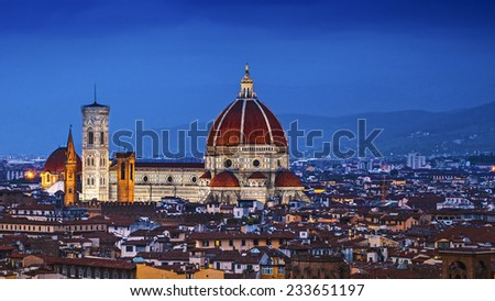 Florence, Duomo Santa Maria Del Fiore at twilight from Piazzale Michelangelo (Tuscany, Italy) - stock photo