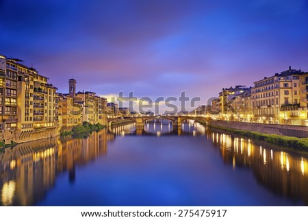 Florence. Image of Florence taken from Ponte Vecchio at dusk. - stock photo