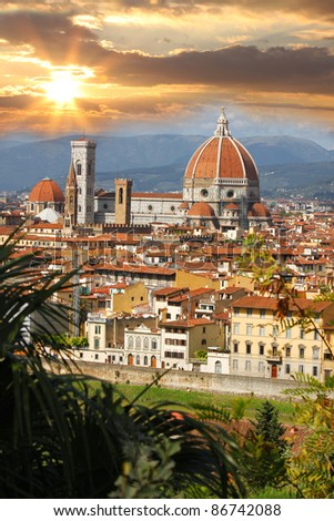 Florence in spring time, Tuscany, Italy - stock photo