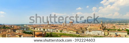 FLORENCE, ITALY - CIRCA JULY, 2015: Panoramic landscape of Florence city with Florence Cathedral in the Florence, Italy. - stock photo