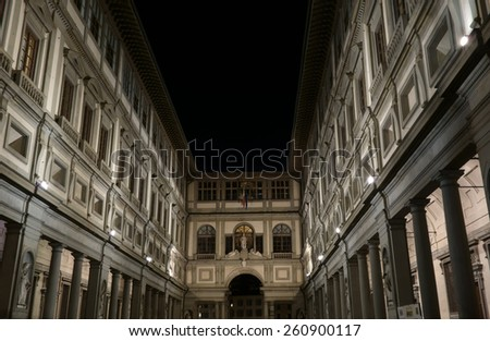 FLORENCE, ITALY - JANUARY 18, 2015: Uffizi Gallery courtyard at night, this is one of the oldest and most famous art museums in europe - stock photo